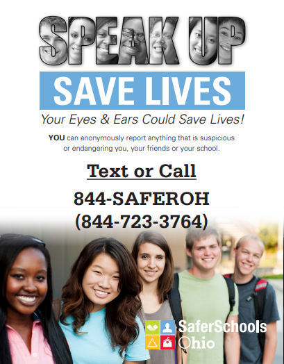 Safer Ohio Tip Line Info - 844-723-3764